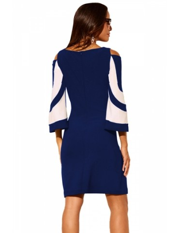 Crew Neck Cold Shoulder 3/4 Length Sleeve Color Block Dress Navy Blue