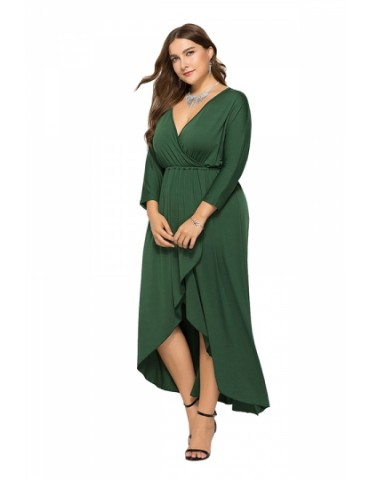 Elegant Plus Size V Neck 3/8 Sleeve Wrap Plain Maxi Dress Green