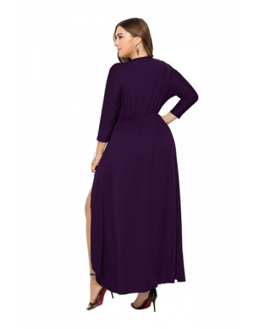 Elegant Plus Size V Neck 3/5 Sleeve Wrap Plain Maxi Dress Purple