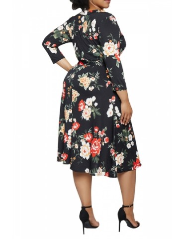 Plus Size 3/4 Sleeve Floral Midi Dress Black