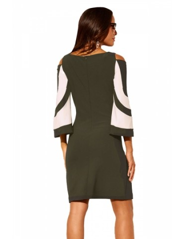 Crew Neck Cold Shoulder 3/4 Length Sleeve Color Block Dress Olive