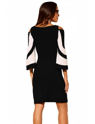 Crew Neck Cold Shoulder 3/4 Length Sleeve Color Block Dress Black