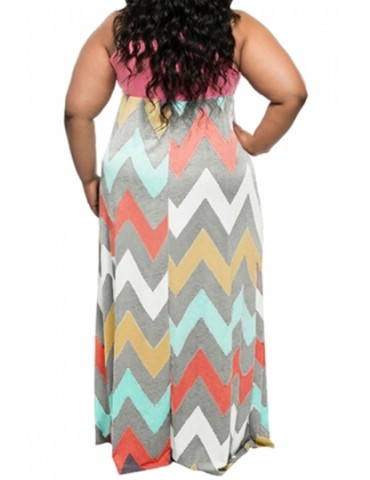 Cheap Plus Size Tank Top Chevron Zig Zag Stripe Maxi Dress Pink