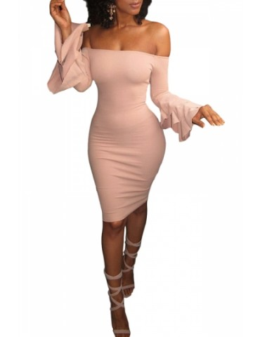 Sexy Bell Sleeve Off Shoulder Bodycon Club Dress Pink
