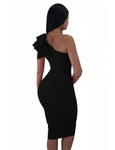 One Shoulder Sleeveless Ruffle Plain Bodycon Clubwear Dress Black
