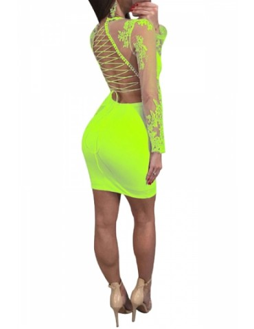 Criss Cross Deep V Backless Lace Patchwork Bodycon Club Dress Green