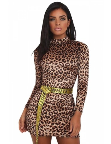 High Neck Long Sleeve Leopard Print Velvet Bodycon Mini Dress Coffee