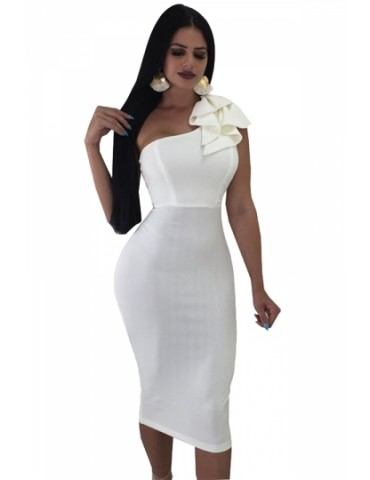 One Shoulder Sleeveless Ruffle Plain Bodycon Clubwear Dress White