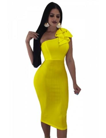 One Shoulder Sleeveless Ruffle Plain Bodycon Clubwear Dress Yellow