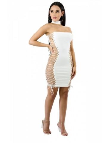 Sexy Chocker Cross Lace Up Bodycon Plain Clubwear Tube Dress White