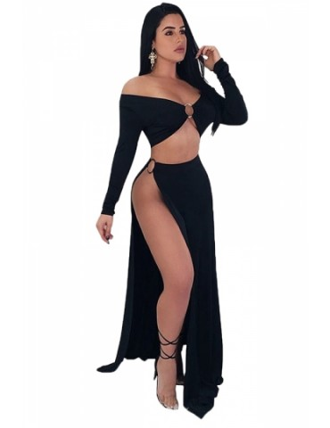 Off Shoulder Long Sleeve Crop Top High Waist Split Club Dress Black