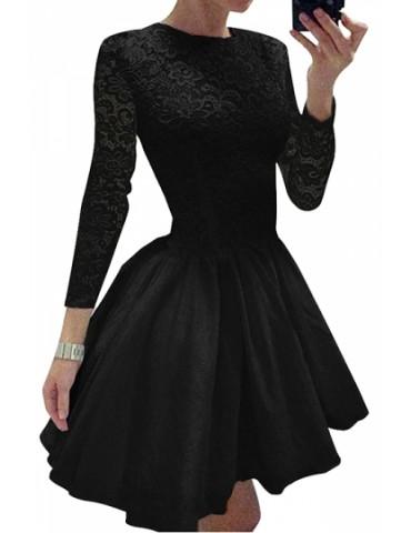 Elegant Plain Long Sleeve Lace Mini Skater Dress Black