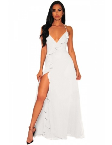 Deep V Neck Ruffle Lace Up Maxi Dress White
