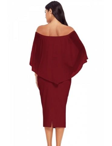 Elegant Off Shoulder Mesh Plain Bodycon Midi Evening Dress Ruby