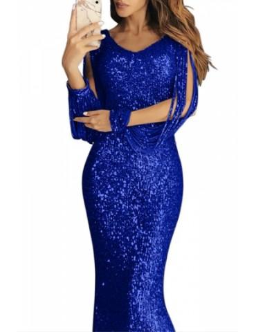 Fringe Sleeve Evening Dress Sequin Blue