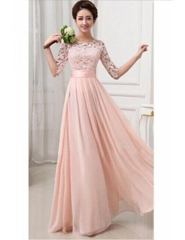 Elegant Plain Half Sleeve Cut Out Chiffon Lace Prom Dress Pink