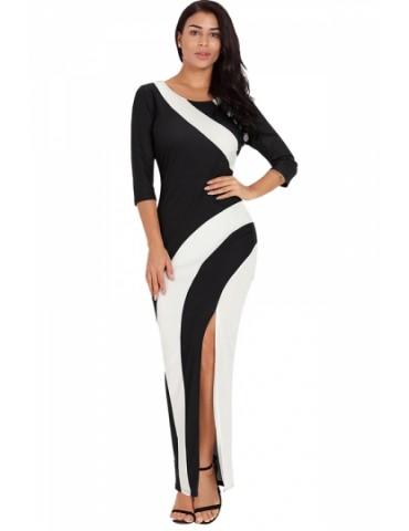 Elegant Crew Neck Color Block Side Split Maxi Evening Dress Black