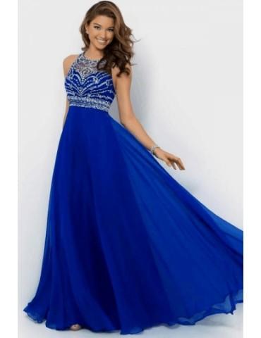 Backless Royal Blue Chiffon Long Evening Prom Dress