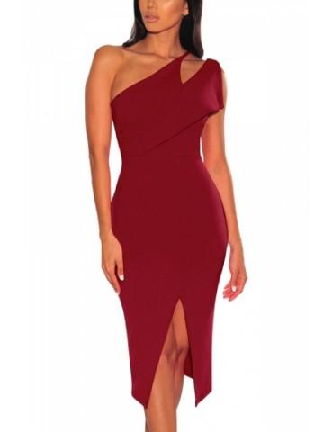 Asymmetrical Shoulder Split Bodycon Evening Dress Ruby