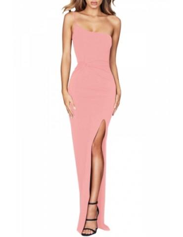Elegant Evening Dress Sleeveless Pink