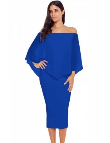 Elegant Off Shoulder Mesh Plain Bodycon Midi Evening Dress Blue
