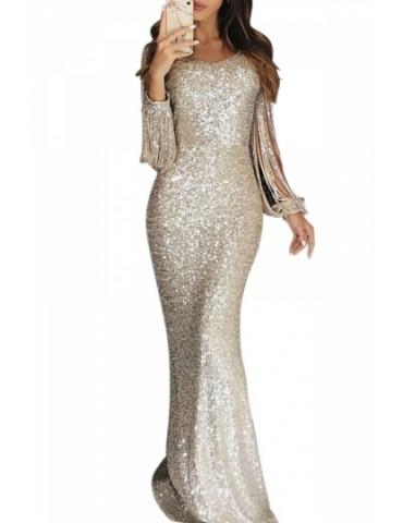 Elegant Sequin Maxi Evening Dress Silvery