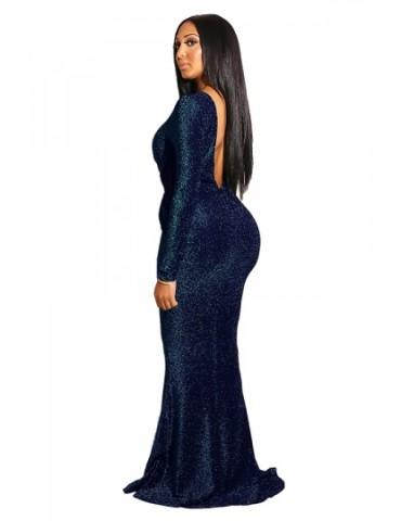 Elegant Long Sleeve Backless Keyhole Mermaid Evening Dress Navy Blue