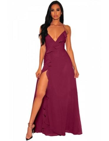 Deep V Neck Flounce Slit Maxi Dress Ruby