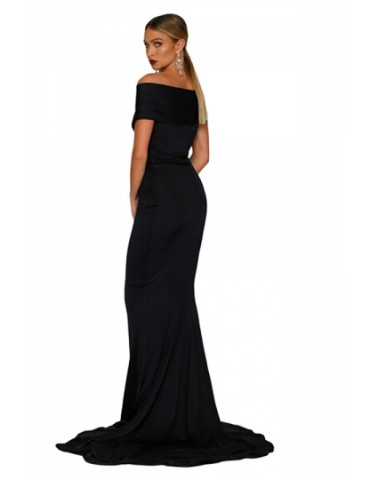 Elegant Off Shoulder Short Sleeve Plain Mermaid Evening Dress Black