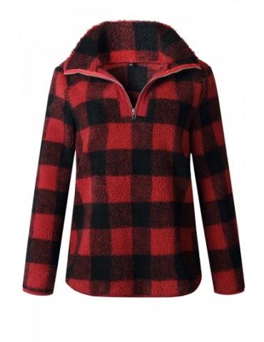 Zipper High Collar Long Sleeve Plaid Fuzzy Sweatshirt Red