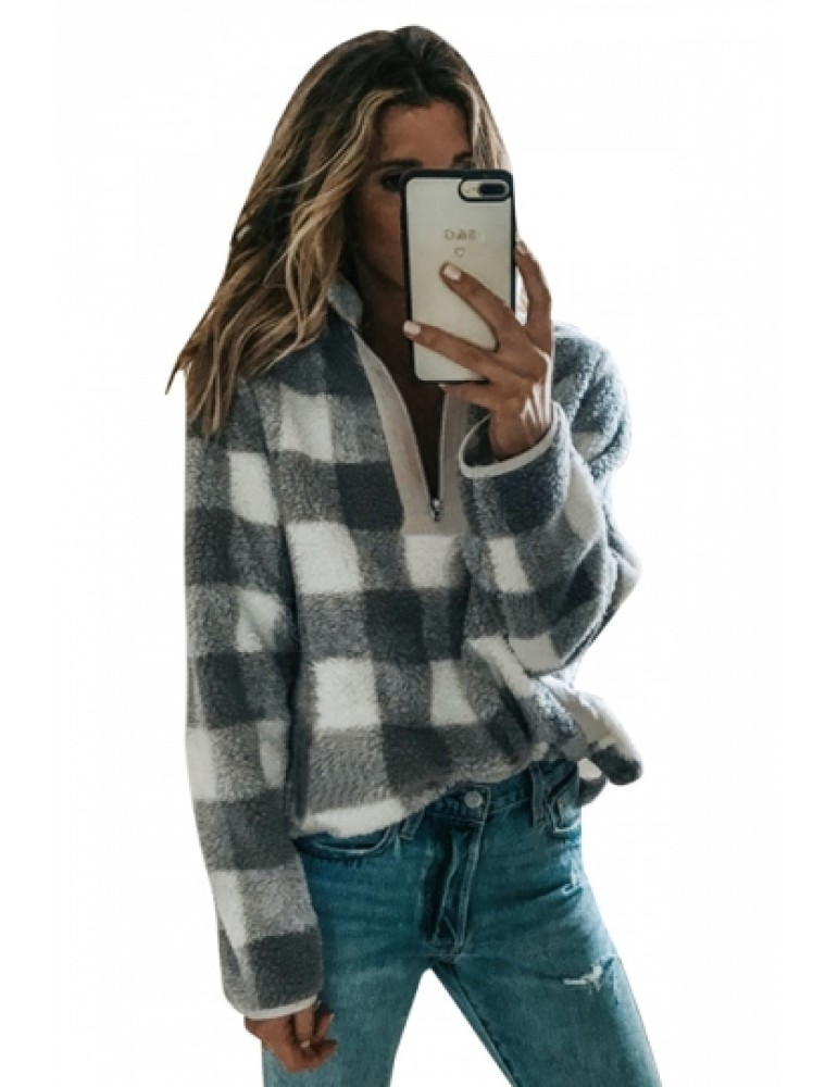 Zipper High Collar Long Sleeve Plaid Fuzzy Sweatshirt Gray