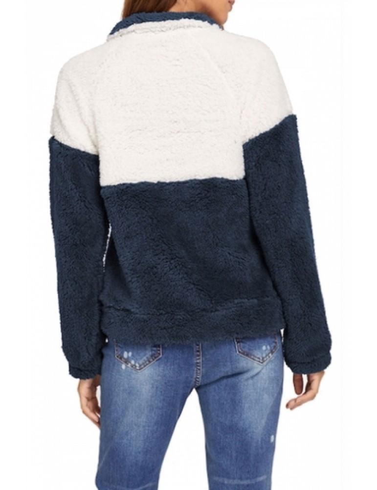 1/4 Zipper Pullover Sweatshirt Navy Blue
