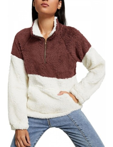1/4 Zipper Pullover Sweatshirt Chestnut