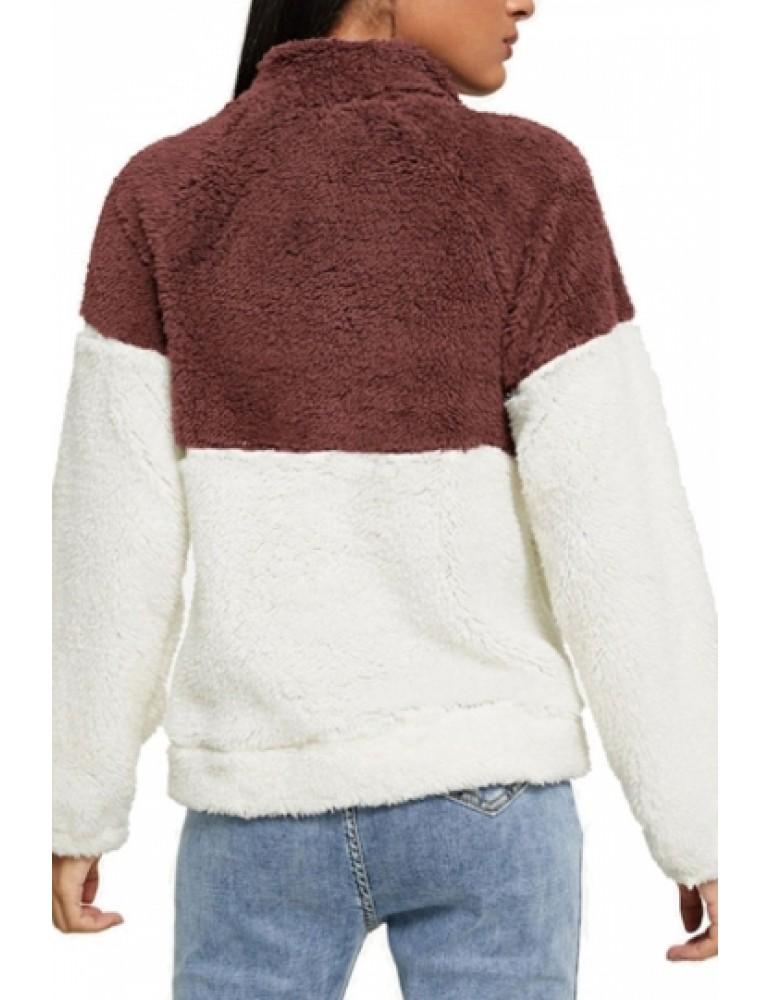 1/4 Zipper Pullover Sweatshirt Chestnut