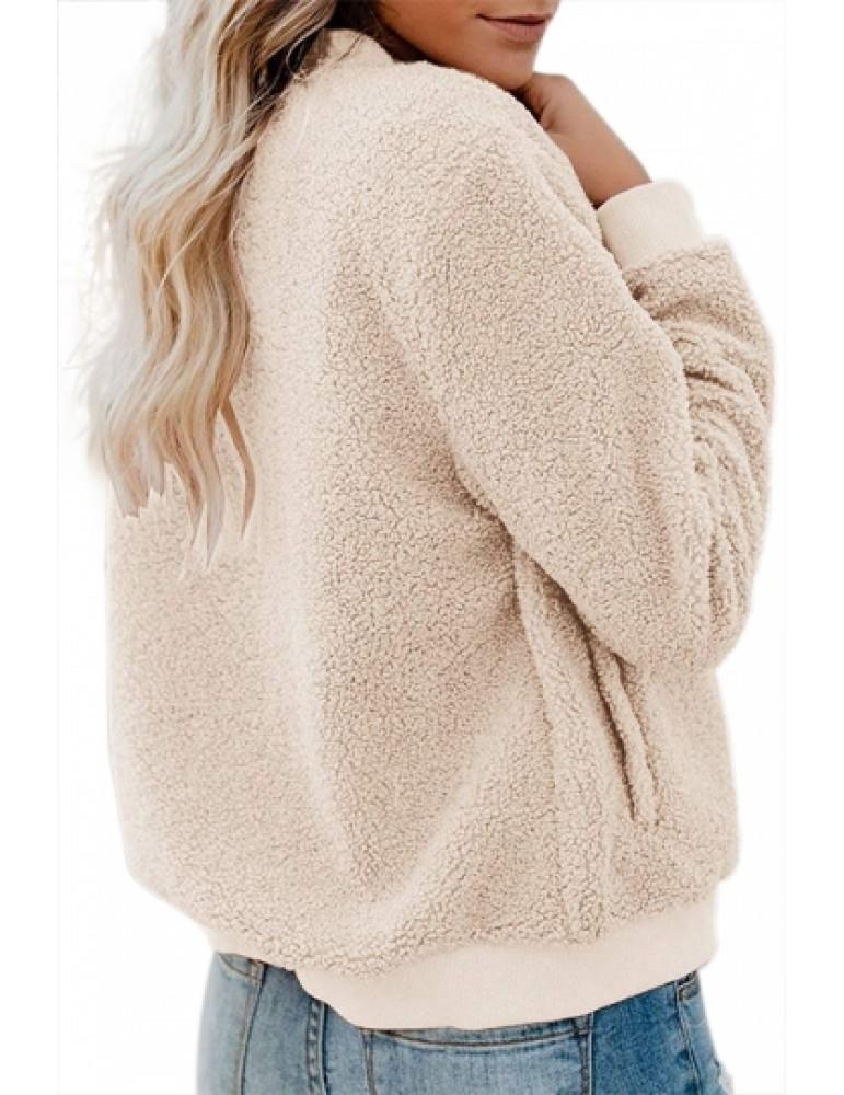 Casual Zip Front Fleece Jacket Khaki