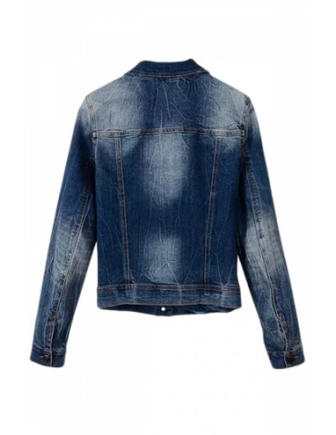 Blue Womens Vintage Denim Long Sleeves Cool Jacket