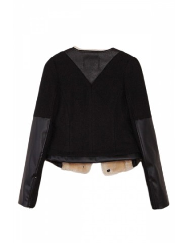 Black Elegant Womens Patchwork Crew Neck Long Sleeve Jacket