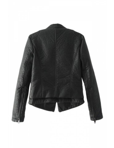 Black Classic Womens Simple PU Leather Plain Jacket