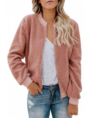 Faux Fur Jacket Stand Collar Pink