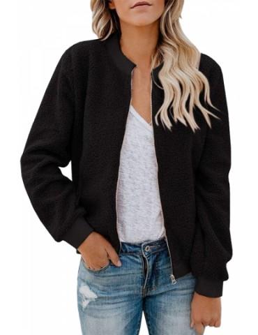 Dual Pocket Fluffy Jacket With Zipper Black