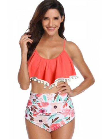 Plus Size Floral Print Pleated High Waisted Two-Piece Swimsuit Tangerine