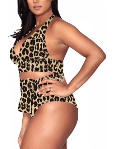 Plus Size Cut Out Halter Leopard Print Bikini Set Brown