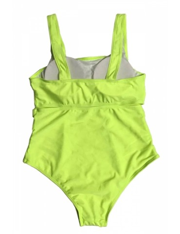 Plus Size Crew Neck Backless Cut Out Plain One Piece Swimsuit Green