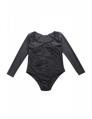 Plus Size Crew Neck Long Sleeve Plain High Cut One Piece Swimsuit Black