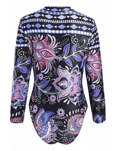 Plus Size Long Sleeve Floral Print Zipper One Piece Swimsuit Pink