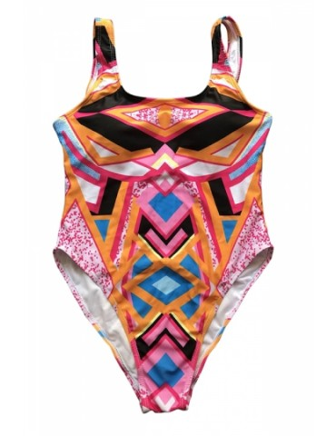 Plus Size Backless Geometrical Print High Cut One Piece Swimsuit Red