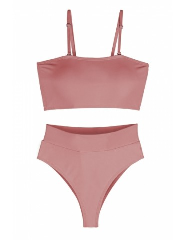 Sexy Bandeau High Waisted Bikini Bottoms Set Two Piece Swimsuits Pink