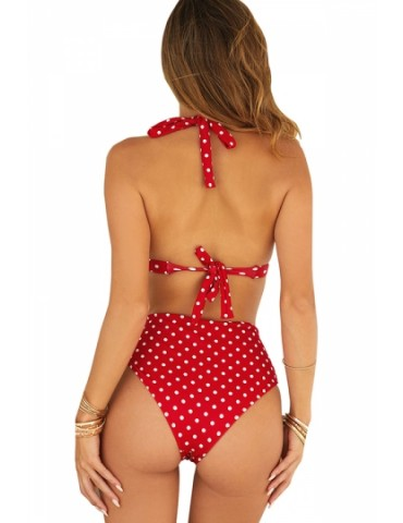Halter Backless Polka Dot High Waisted Bikini Set Red