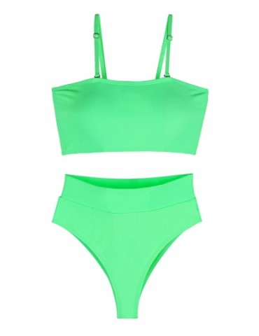 Sexy Bandeau High Waisted Bikini Bottoms Set Two Piece Swimsuits Green