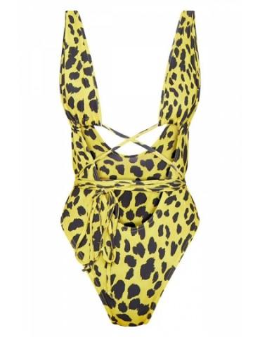 Criss Cross Leopard Print High Cut One Piece Swimsuit Yellow